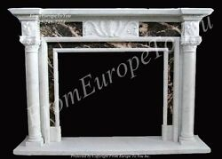 HAND CARVED SOLID MARBLE CLASSICAL EUROPEAN DESIGN FIREPLACE MANTEL - MBZ