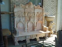HAND CARVED ESTATE SUNSHINE MARBLE GARDEN VICTORIAN BENCH - NY76