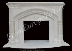NICE HAND CARVED GOTHIC EGYPT CREAM LIVING ROOM FIREPLACE MANTEL
