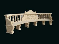 HAND CARVED LARGE MARBLE CLASSIC GARDEN BENCH BNC1