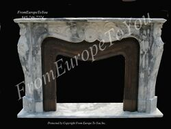 BEAUTIFUL HAND CARVED MARBLE AND BRONZE LIVING ROOM FIREPLACE MANTEL FPM250