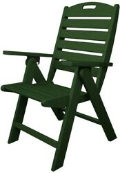 Patio Folding Dining Chair Adjustable Backrest Green Armchair Outdoor Nautical