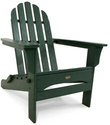 Folding Patio Adirondack Chair Comfortably Contoured Outdoor Seating Green Resin