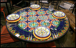 60'' Marble Dining Table Top Rare Floral Arts Marquetry Inlay Patio Decor H3916