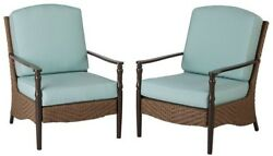 Lounge Patio Chair Outdoor Garden Furniture All Weather Cushion Wicker 2-Pack