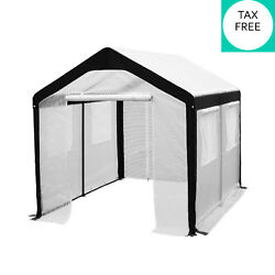 Large Walk IN Garden Greenhouse 8 x 10 FT with Windows Steel Panels White