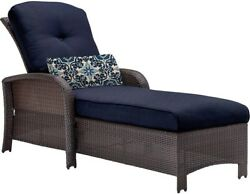 All-Weather Wicker Patio Furniture Chaise Lounge W Navy Blue Cushion Outdoor