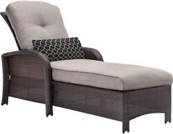 All-Weather Wicker Patio Furniture Chaise Lounge Chair W Silver Lining Cushion