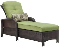 All-Weather Wicker Patio Luxury Chaise Chair Furniture W Green Cushion Outdoor