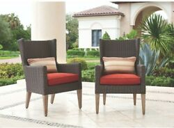 All-Weather Wicker Outdoor Furniture Dining Arm Chairs W Spice Cushions 2 Pack