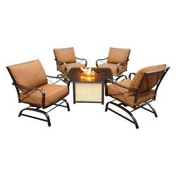 Bradford 5pc Metal Patio Conversation Set with Fire Pit Table - Tan - Hanover