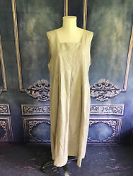 90s Natural Linen Loose Pleated Jumper Dress LARGE Button Back Midi Length NEW