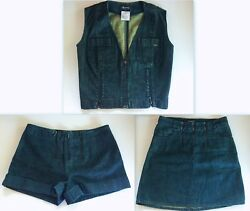 VINTAGE CHANEL RUNWAY SEXY DENIM SHORTS SKIRT & VEST TOP 3 PIECE SET FR 3638
