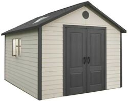 Outdoor Storage Building 11 X 11 Ft Garden Shed Lockable Double Door Skylights