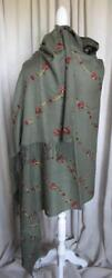 Cashmere Silk Blend Embroidered Shawl Green w Multi-Color Thread Huge Gorgeous