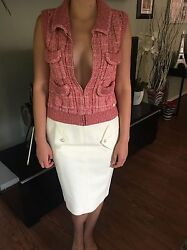 CHANEL RUNWAY SEXY TWEED SKIRT & EMBELLISHED VEST TOP 2 PIECE SET US 4 SO CUTE