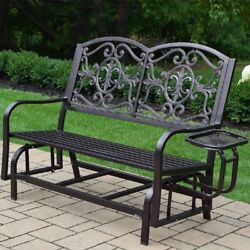 Garden Bench Wood Metal Double Glider Side Tray Decorative Seats Outdoor Durable