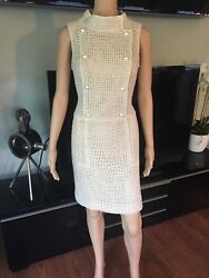 CHANEL RUNWAY SEXY OPEN KNIT DOUBLE BREASTED MINI DRESS FR 38