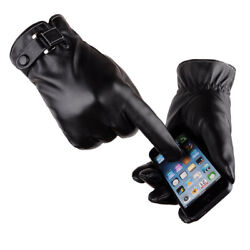 Touch Screen Gloves Leather For Men Motorcycle Warm Windproof Winter Mittens $11.49