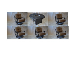 Elizabeth Outdoor Patio 5 pcs Swivel Rocker Club Chairs and 52