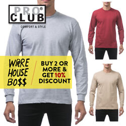 PROCLUB PRO CLUB MENS CASUAL LONG SLEEVE T SHIRT HEAVYWEIGHT SHIRTS COTTON TEE