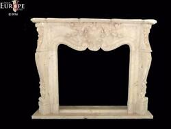 HAND CARVED MARBLE CLASSICAL FRENCH DESIGN ESTATE FIREPLACE MANTEL - FSM049