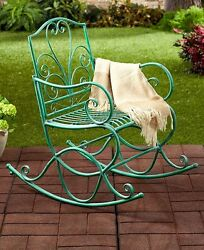 Outdoor Scrolled Metal Rocking Chair Porch Rocker Patio Seat Deck Decor -Jade