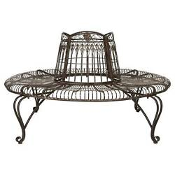 Ally Darling Wrought Iron Outdoor Tree Bench - Rustic Brown - Safavieh