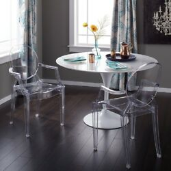Dining Chair Modern Clear Acrylic Armrests Backrest Plastic Polycarbonate Dinner