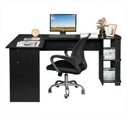 L-Shaped Computer Desk Wood Office Corner Laptop Study Table 2-Layer Bookshelves $118.90