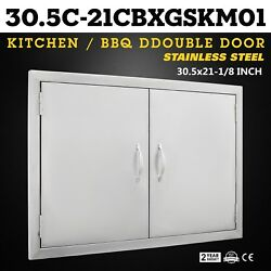"30"" BBQ Double Island Door Outdoor Kitchen Modern Frame Fireplace Large Storage"