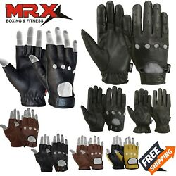 Mens Motorcycle Gloves Leather Bikers Car Driving Full Finger Black 3 Styles MRX $12.99