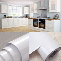 White Vinyl Kitchen Cupboard Door Cover Self Adhesive Protect Film Contact Paper $22.79