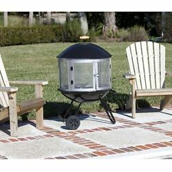 Patio Fire Pit Wood Burning Portable Outdoor 360 View Fireplace Mesh Cover 28