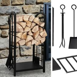 Fireplace Log Rack Black Wrought Iron Lumber Storage With 4 Tools Indoor Outdoor