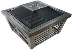 Steel Fire Pit 34in Outdoor Heating Portable 360 Fire View Screen Mesh Cover