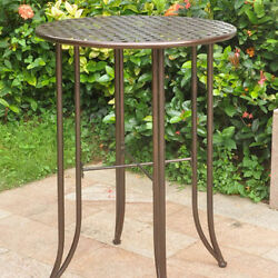 Outdoor Pub Table Iron Bar Height Patio Furniture Round Bronze Metal Tall Deck