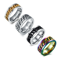 SilverBlackGoldRainbow Spinner Chain Rings Stainless Steel Men's Band Sz 6-15