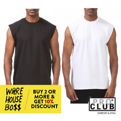 PROCLUB PRO CLUB MENS PLAIN SLEEVELESS CASUAL TANK TOP ACTIVE COTTON MUSCLE TEE  $8.95