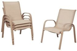 Patio Dining Chair Outdoor Sling Fabric Seat Stationary Stackable Aluminum 4 Set