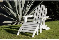 Patio Adirondack Arm Chair Folding Outdoor Stationary Ottoman White Plastic Seat