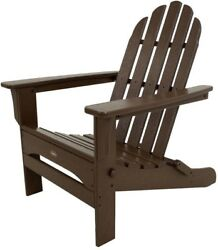 Patio Adirondack Arm Chair Outdoor Folding Stationary Brown Plastic Seat Frame