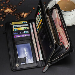 Men's Leather Bifold Credit Card Holder Wallet Checkbook Zip Coin Purse Clutch