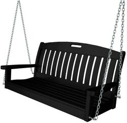 Outdoor Porch Swing Black Plastic Polywood Lumber Seat Patio Chair Furniture