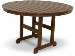 Round Patio Dining Table Outdoor Furniture Brown Plastic Polywood Frame 48 In.