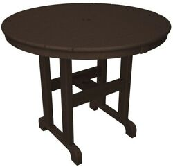 Round Patio Dining Table Outdoor Furniture Brown Polywood Plastic Frame 36 In.