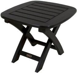 Patio Side Table Square Black Plastic Tabletop Polywood Frame Outdoor Furniture