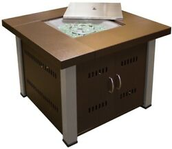 Propane Fire Pit 38in Steel Housing Gas Fueled Outdoor Heating 360 Fire View