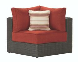 Patio Arm Sectional Corner Chair Red Cushion Seat Wicker Aluminum Outdoor Lounge