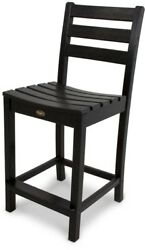 Patio Counter Side High Chair Armless Stationary Bar Seat Black Polywood Plastic